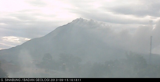 Mount Sinabung on 15 September 2013 from Live Cam - PVMBG